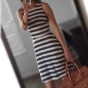 H&M Striped Sleeveless Midi Dress Gray Flare XS